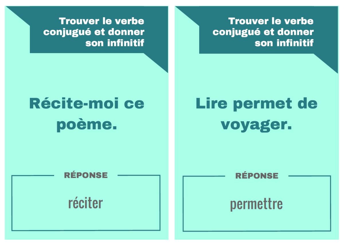 """Jeu """"Trouver le verbe conjugué et donner son infinitif""""."""